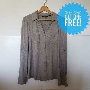 BOGO FREE Attention Long Sleeve Gray Button Down